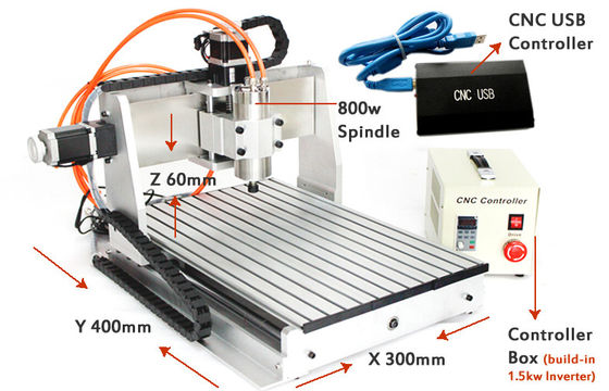 China USB CNC3040 3 Axis CNC Router 800w spindle 1.5kw VFD Drilling Milling Cutting Machine supplier