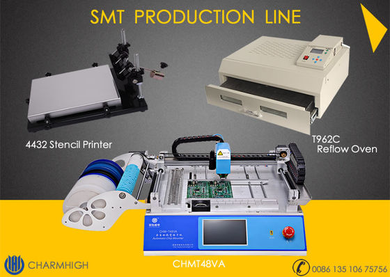 China 29 Feeders CHMT48VA + 4432 Stencil Printer + Reflow Oven T962C SMT Production Line , Prototype Batch production supplier