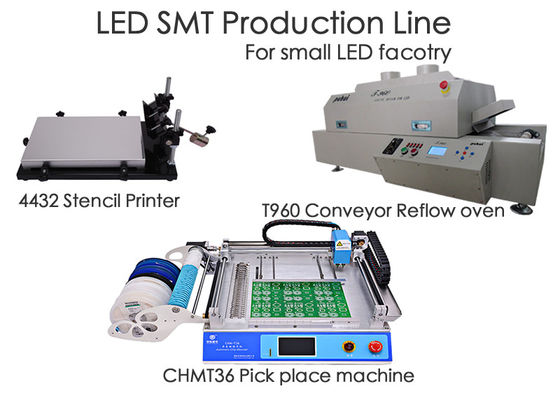 China LED SMT Production Line CHMT36 Chip Mounter, Stencil Printer , Reflow Oven T960, for small factory supplier