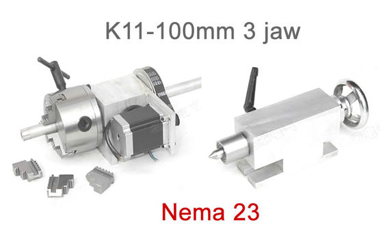 China K11-100mm Chuck 3 jaw CNC 4th Axis Hollow Shaft CNC Dividing Head for CNC Router factory