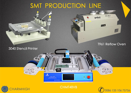 China Advanced SMT Production Line, 3040 Stencil Printer / CHMT48VB Pnp machine / Reflow Oven T961 distributor