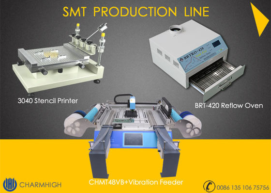 China Stencil Printer 3040 / CHMT48VB+ Vibration Feeder, SMT assembly Line / Reflow Oven BRT-420 distributor